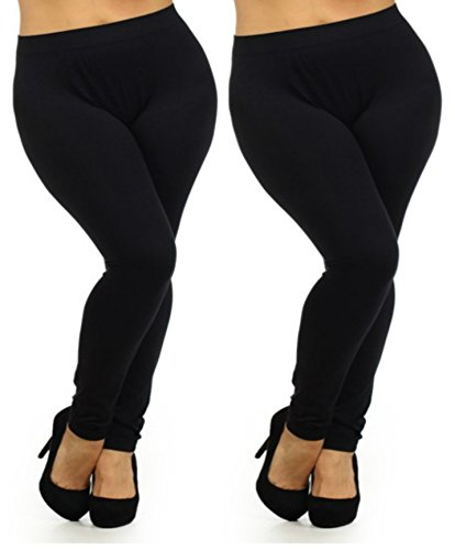 Fashion Mic Women's Regular and Plus Size Nylon Seamless Leggings (XL (10/12 - 16/18), 2pack: black/black)