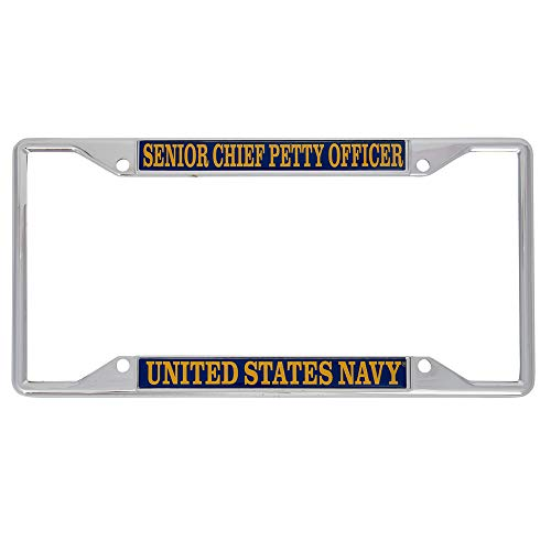 Desert Cactus US Navy Senior Chief Petty Officer Enlisted Grades License Plate Frame for Front Back of Car Officially Licensed United States
