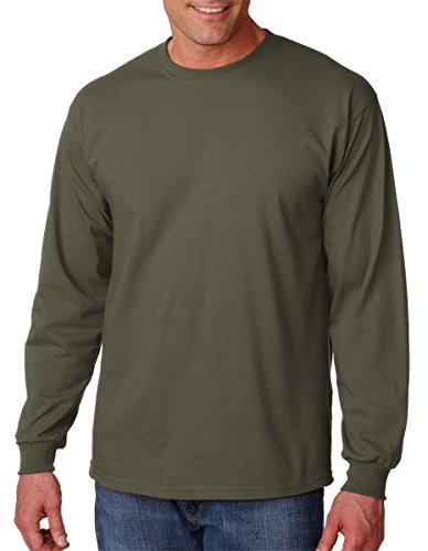 Gildan 6.1 oz. Ultra Cotton Long-Sleeve T-Shirt, Military Green, S