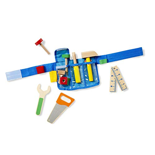 Melissa & Doug Deluxe Tool Belt Set - 5 Wooden Tools, 8 Building Pieces, Adjustable Belt from Melissa & Doug