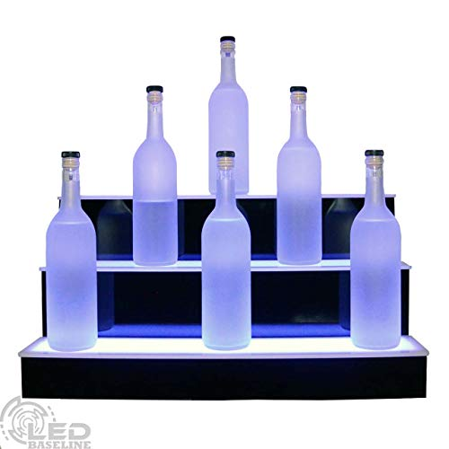 "24"" 3 Step Lighted Liquor Bottle Display Shelf with LED Color Changing Lights Ships Next Business Day IF Ordered Before 10AM"