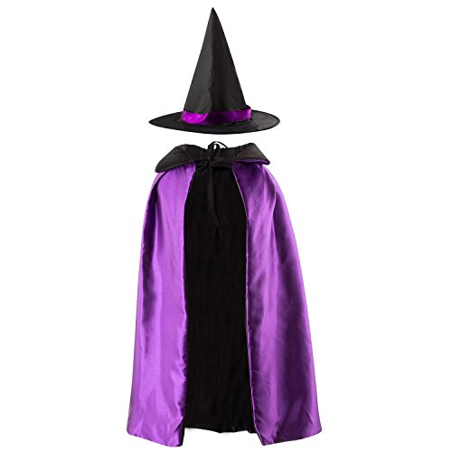 [Acecharming Kids' Witch Cape with Hat Double Side Vampire Cloak for Halloween (Length 90cm, Purple)] (Vampire Dress For Kids)