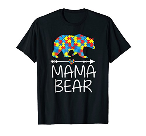 Mama Bear Autism Awareness T-Shirt Autism Mom,Mommy Tee (Autism Womens T-shirt)