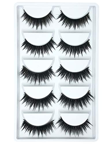 3D Fake Eyelashes Makeup Hand-made Dramatic Thick Crisscross Deluxe False Lashes Black Nature Fluffy Long Soft Reusable 5 Pair Pack Y39
