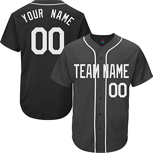 Black Custom Baseball Jersey for Men Full Button Mesh Embroidered Name & Numbers,White Size S (Best Softball Jersey Names)