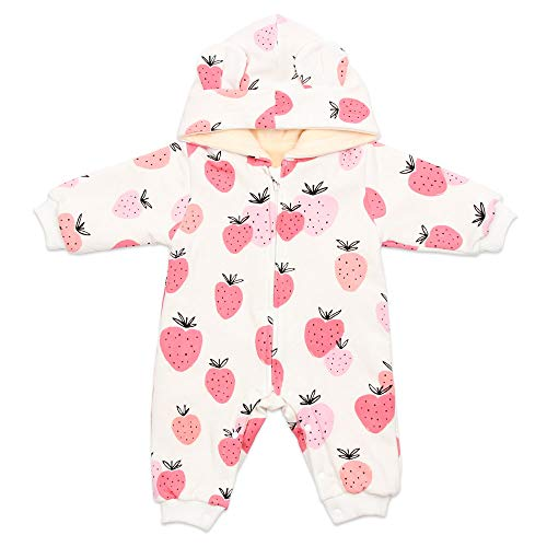 BEBENEW Newborn Baby Boys Girls Bear Ears Cotton Hoodie Zipper and Snaps Rompers Winter Fleece Warm Jumpsuit Outfits Clothes (White, 66(3-6 Months))
