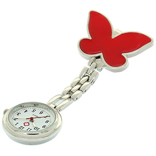 (Clip-on Fob Brooch Pendant Hanging Watch Women Butterfly Design Unisex Watches Fashion Nurse Watch Clock Stainless Steel Medical Watches Pocket Clock Gift for Hospital Doctors Nursing Timepiece)