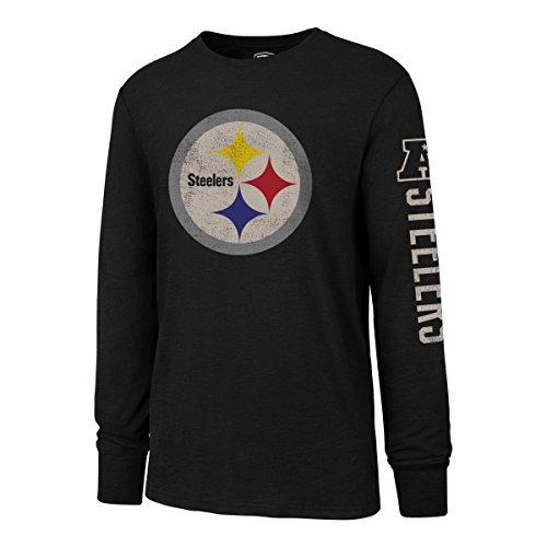 NFL Pittsburgh Steelers Mens OTS Slub Long Sleeve Team Name Distressed Tee, Jet Black, Small
