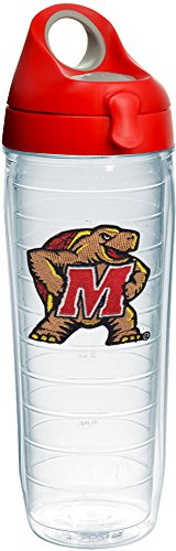 Tervis 1232289 Maryland Terrapins Logo Insulated Tumbler with Emblem and Red with Gray Lid, 24oz Water Bottle, Clear]()