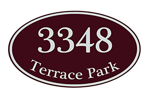 Custom Home Address Sign, Personalized House Number Sign, 12' x 7' Aluminum Oval, Variety Of Colors To Choose From (Burgundy)