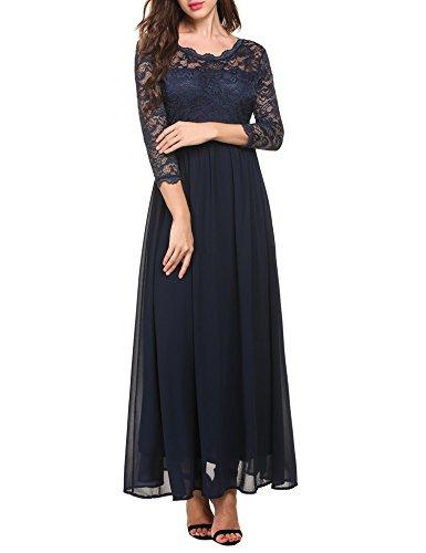 Blue Long Sleeve S Vintage Neck Dark Fit Dress Slim Vansop Women Maxi Lace 3 O XXL 4 IOqSwwaz5x