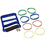 Rolyan Ergonomic Hand Exerciser with Padded Handle, Adjustable Squeeze Tool with 4 Pairs of Rubber Bands of Progressive Resistance for Finger, Hand, and Thumb Strengthening, Improving Weak Grip, Blue