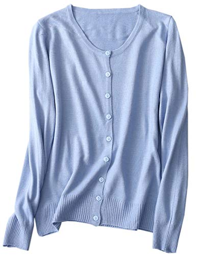 (Women's Casual Button Down Classic Long Sleeve Crewneck Lightweight Cashmere Cardigan Sweater, Light Blue, Tag S = US)