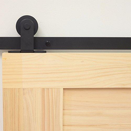 Door Hardware Standard Double Door Kit, 14FT Flat Track T-Shape Design Roller, Black Rustic Heavy Duty Interior Exterior Use ()