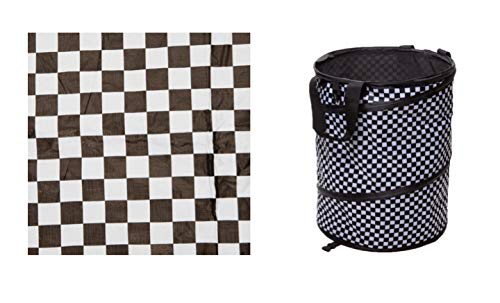 TravAid RV Camping Racing Checkered Flag Bundle Includes A Grill World Tablecloth and A Camper's Choice Collapsible Container ()