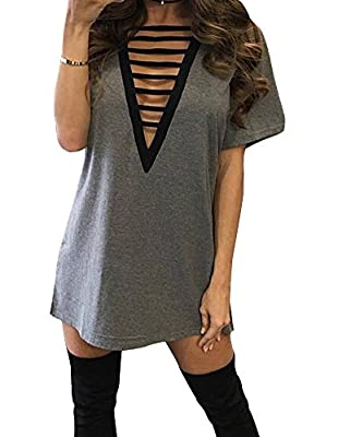 Women's Sexy Lace Up Cross Bandage Long Shirt Party Club Cocktail Short Mini Dress