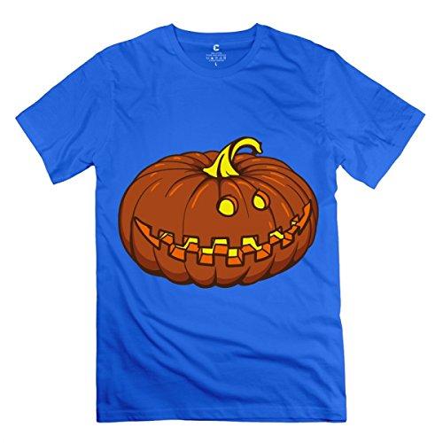 LiaoYang Halloween Pumpkin Royal Blue Adult Standard Weight T-Shirt For Men L -