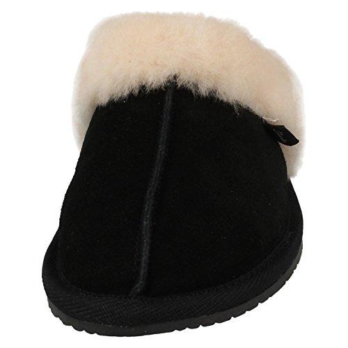Clarks Womens Warm Glitz Mule Slippers Black Suede CyKiODVlsK