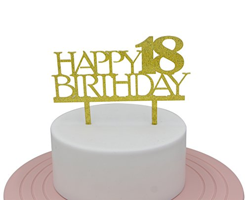 Happy 18th Birthday Cake Topper Gold Sweet Party Decoration Supplies