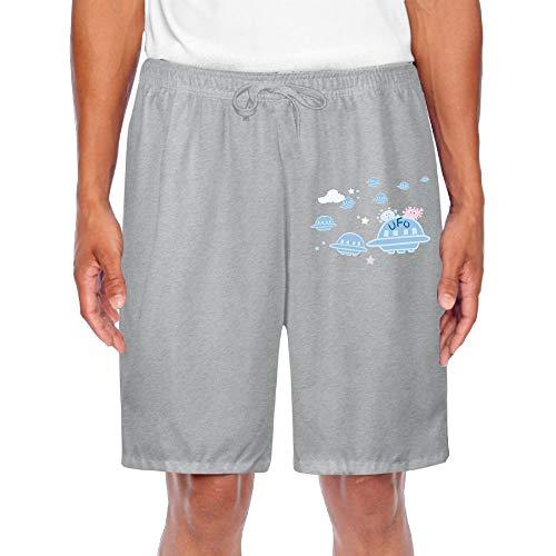 (Agilitynoun Men's Shorts Cartoon UFO Sweatpants Drawstring Casual Basic)