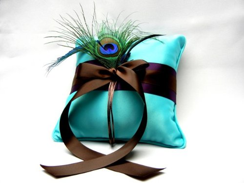 Turquoise Wedding Ring Pillow with Peaock Feather Theme Bridal Accessories NEW BEST SELLER