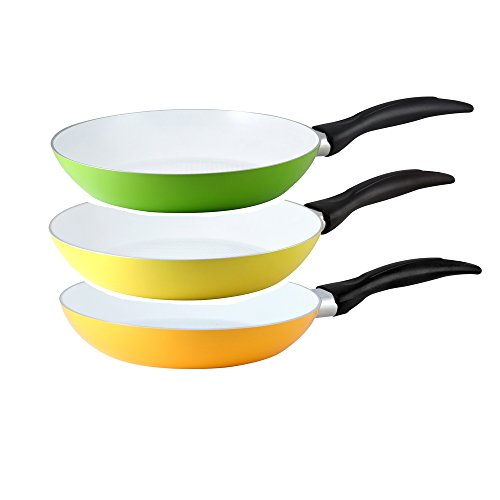 CS - Kochsysteme MAX Ceramic Non Stick, Non Toxic 8 Inch Frying Pans, Value Pack Set of 3, PFOS, VOC, PFOA PTFE-Free