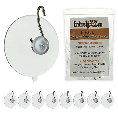 Entirely Zen Superior 8pc Suction Cup Hooks - 50mm - 2 inch Heavy Duty Suction Cups Hold up to 4 lbs Each - All Purpose Hooks for Hanging, Window Bird Feeder Replacements, Towel or Shower Caddy Hook (Cups Suction Window)