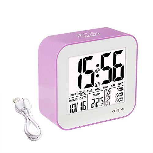 Tsumbay Digital Alarm Clock, USB Rechargeable 3 Separate Alarm Digital Clock Backlight Large Screen Display Temperature Calender Ideal for Home Office - Pink