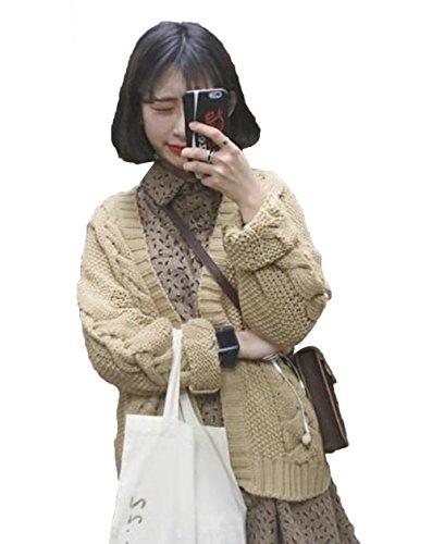 JIANGWEI ニット カーディガン ゆったり セーター かぎ針編み ストーリー ゆったり 無地  森ガール セーター 学生 可愛い