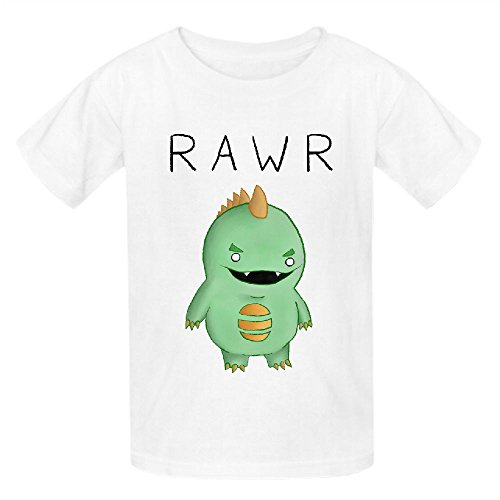 Dinosaur Goes Funny Unisex Crew Neck Cotton Tees White