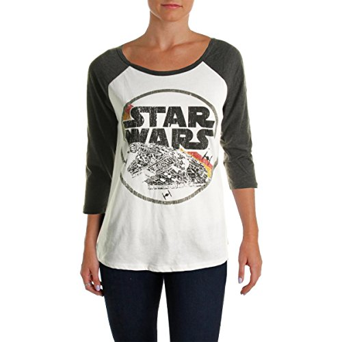 [Star Wars Womens Juniors Graphic Back Cut-Out Baseball Tee White M] (Cheap Star Wars Shirts)