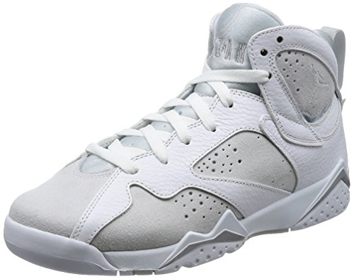 Jordan Air 7 Retro BG Boys Sneakers 304774-034 (5 M US Big Kid, White/Metallic Silver-Pure Platinum)