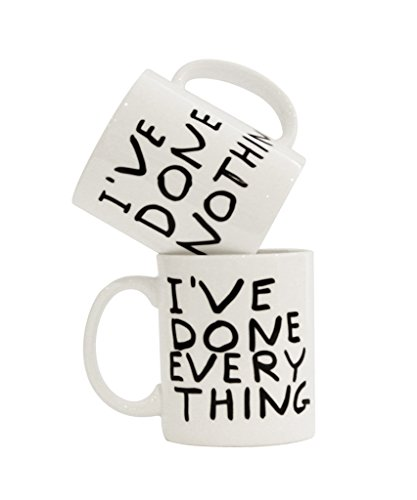 Third Drawer Down I've Done Nothing or Everything Coffee Mug, Artwork by David Shrigley, Fine Bone China Dishwasher and Microwave Safe- White - Dishwasher Safe Fine China Mug