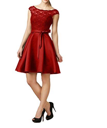 Knielang Spitze Charmant Kurz Dunkel Abendkleider mit Kleider Rot Partykleider Cocktailkleider Guertel Satin Schwarz Damen rFqxwUTEFY