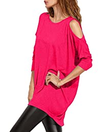 Women's Cold Shoulder Off T-shirt Dress Loose Fit Long Sleeve Long Tees