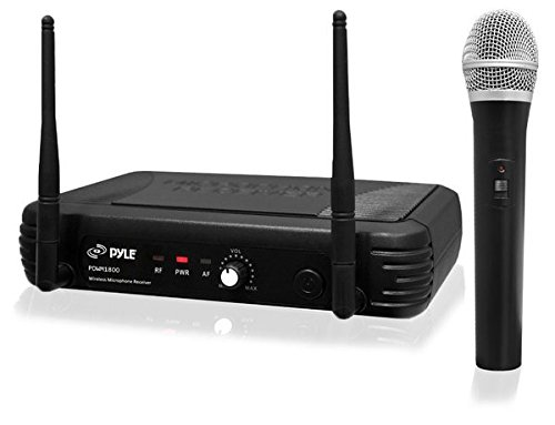 Microphone Handheld Paging (Pyle UHF Wireless Microphone System - Professional Dynamic Wireless Mic Set, handheld mic and receiver, power adapter, Audio Cable - Great for PA, Conference, Karaoke, and Dj Party - PDWM1800)