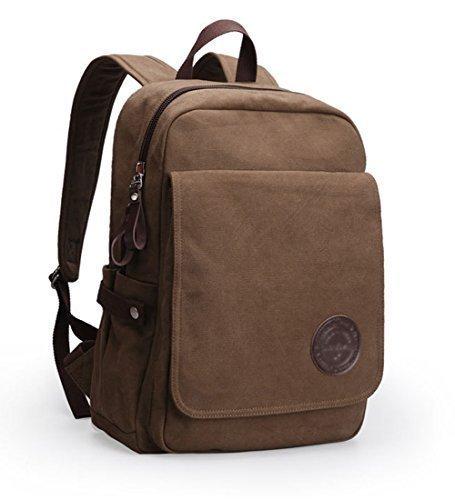 Vintage Canvas Laptop Backpack School College Rucksack Bag (Coffee) - 9