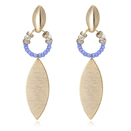 Boho Multi Beads with Oval Shape Long Drop Statement Earrings