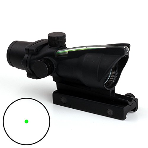 CL-SPORTS ACOG Type 1X32 Tactical Green or RED Dot Sight Real Green Fiber Optic Riflescope (Green Dot)