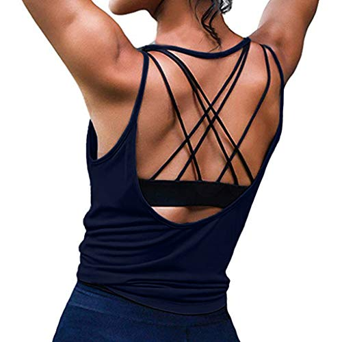 - Womens Summer Workout Tops Sexy Backless Yoga T-Shirts Running Sports Gym Sexy Tank Tops Navy