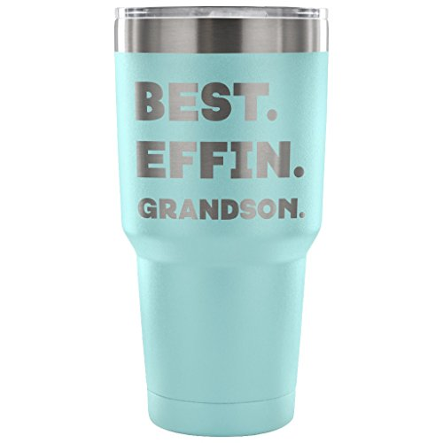 Marlin Steel Knife (ArtsyMod BEST EFFIN GRANDSON Premium Vacuum Tumbler, PERFECT FUNNY GIFT for Your Grandson from Grandfather, Grandmother! Humorous Gift, Attractive Water Tumbler, 30oz. (Light Blue))