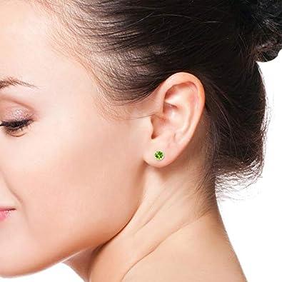 Rope Framed Claw-Set Natural Peridot Martini Stud Earrings August Birthstone 6mm Peridot