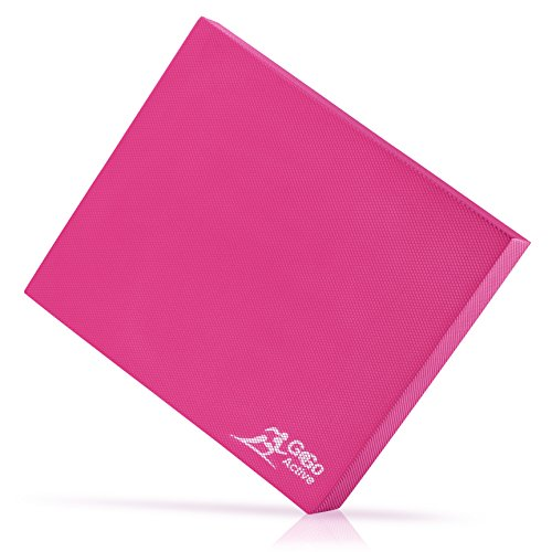 Go Go Active Balance Pad (Thick) – Exercising Training Mat for Therapy, Yoga, Pilates, CrossFit and Fitness – Non-Skid Bottom, Ecofriendly, Double-Sided – Home or Gym Use – XL 19x15'' (Hot Pink)