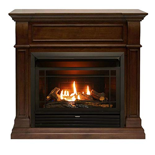 Duluth Forge FDF300R Dual Fuel Ventless Gas Fireplace-26,000 BTU, Remote Control, Walnut (Fireplace Gas Direct Vent Corner)