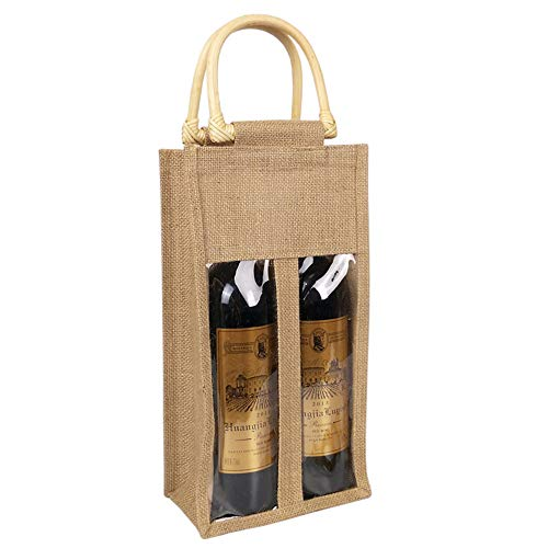 Vpang Eco-friendly Burlap Wine Bottle Bag Jute Wine Bottle Tote with Cane Handle Gift Packaging Wine Bag Gift Bag Candy Bag for Christmas Holiday Decorations (Double Bottle)