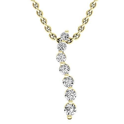 0.30 Carat (ctw) 18K Yellow Gold Round Diamond Ladies Journey Pendant 1/3 CT (Gold Chain (Gold Journey Diamond)