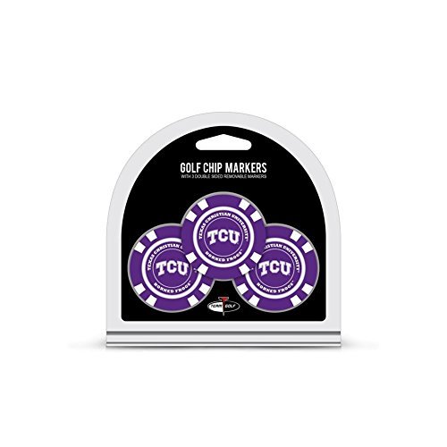(Team Golf NCAA TCU Horned Frogs Golf Chip Ball Markers (3 Count), Poker Chip Size with Pop Out Smaller Double-Sided Enamel)