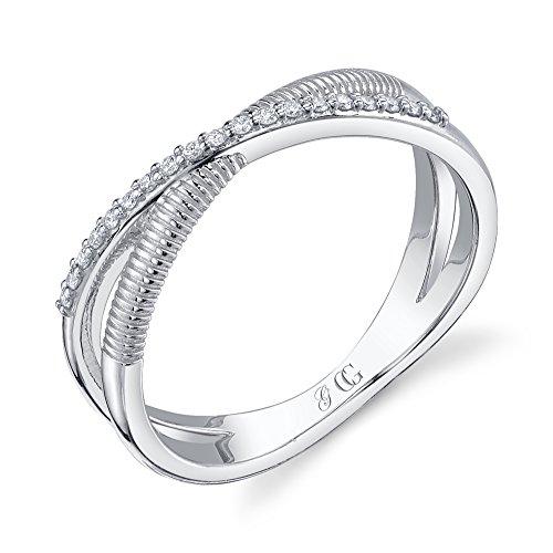 CHARLIZE GADBOIS Sterling Silver Diamond X Ring, White Rhodium (0.095 cttw, I1-I2 Clarity) Size 6 by Gadbois Jewelry