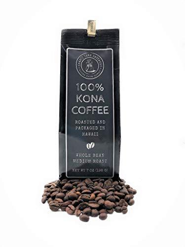100% Kona Coffee - Whole Bean, MEDIUM ROAST, Freshly Roasted And Packaged In Hawaii (7 Ounces)