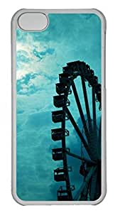 Hard Transparent Plastic Case Shell for iPhone 5C,Art Ferris Wheels under Blue Sky Back Cover Case